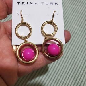 Trina Turk Gold Tone Fuchsia Bead Earrings